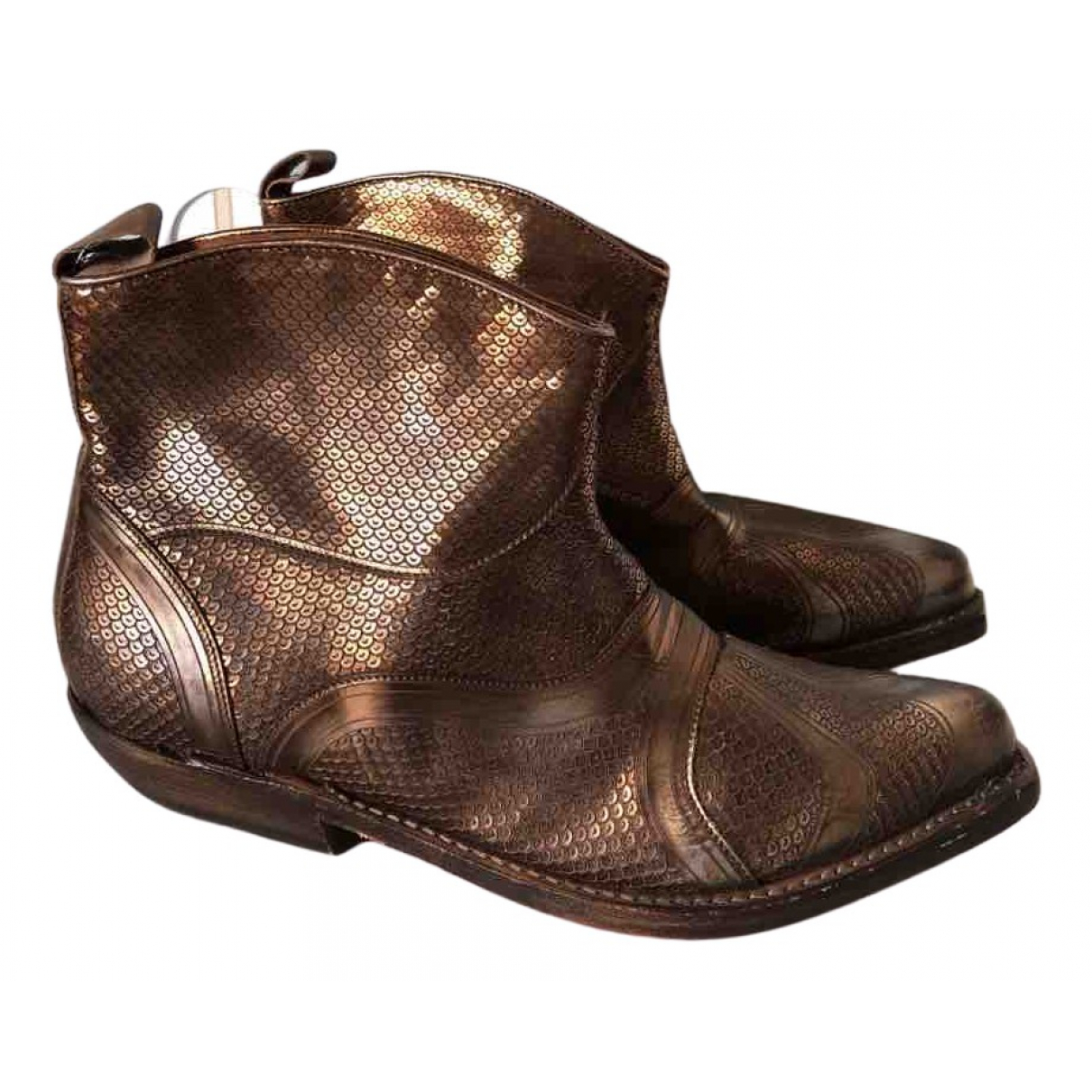 Non Signe / Unsigned Hippie Chic Stiefeletten in  Metallic Leder