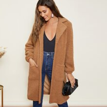 Open Front Pocket Patched Teddy Coat
