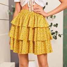 All Over Floral Print Layered Hem Skirt