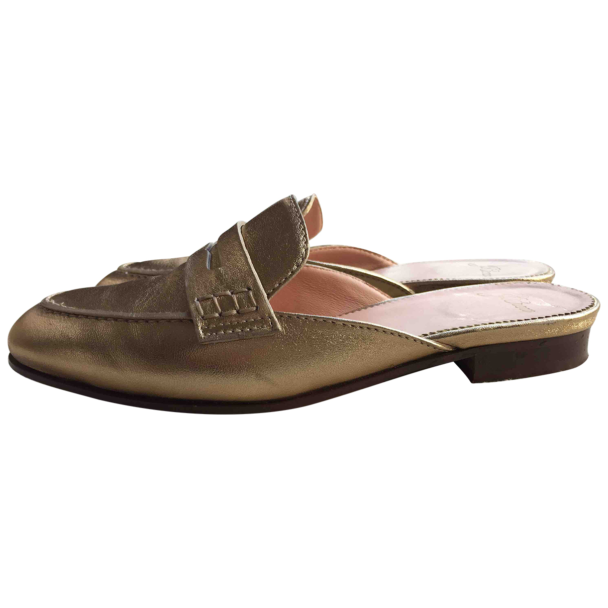 J.crew N Gold Leather Mules & Clogs for Women 4 UK