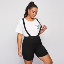 Plus Solid Button Front Pinafore Shorts