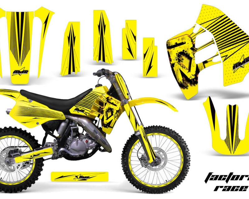AMR Racing Graphics MX-NP-SUZ-RM125-90-92-FR Y Kit Decal Sticker Wrap + # Plates For Suzuki RM125 RM250 1990-1992 FACTORY RACE