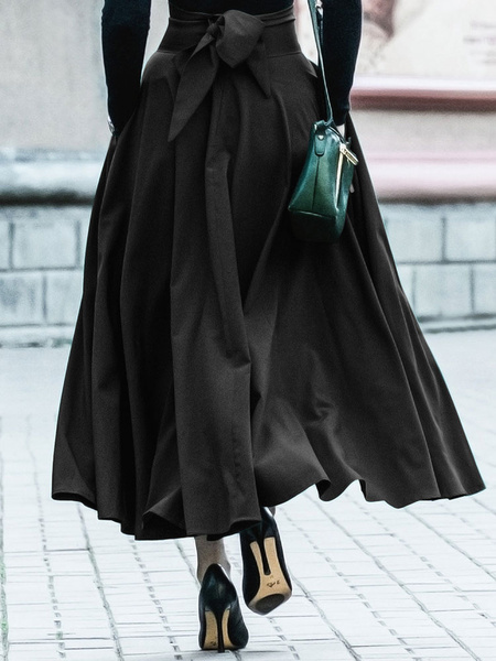 Milanoo Women Skirt Hunter Green Lace Up Pleated Long Skirts