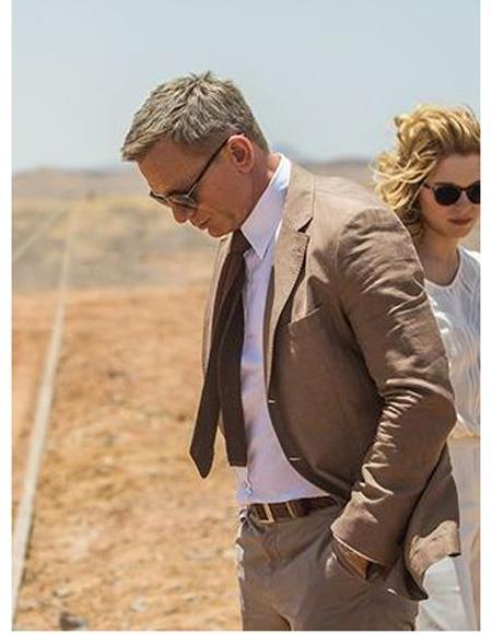 Mens Brown James Bond Wool Blend Two Piece Suit Spectre