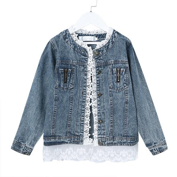 Girls Jean Jackets Kids Lace Coat Long Sleeve Button Denim Jackets For Girls 2-9Y