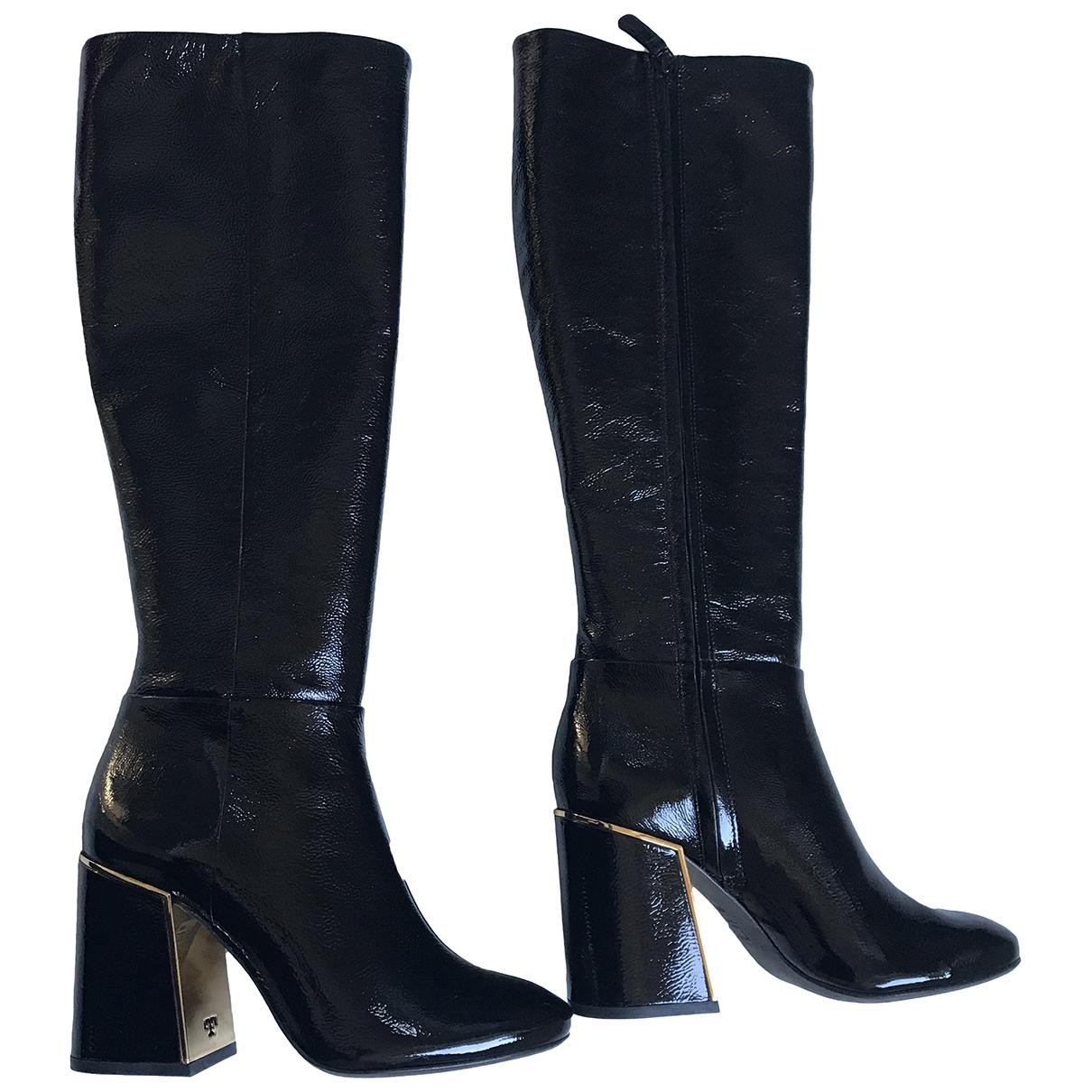 Tory Burch - Bottes   pour femme en cuir verni - noir