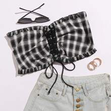 Frill Trim Lace Up Front Plaid Tube Top
