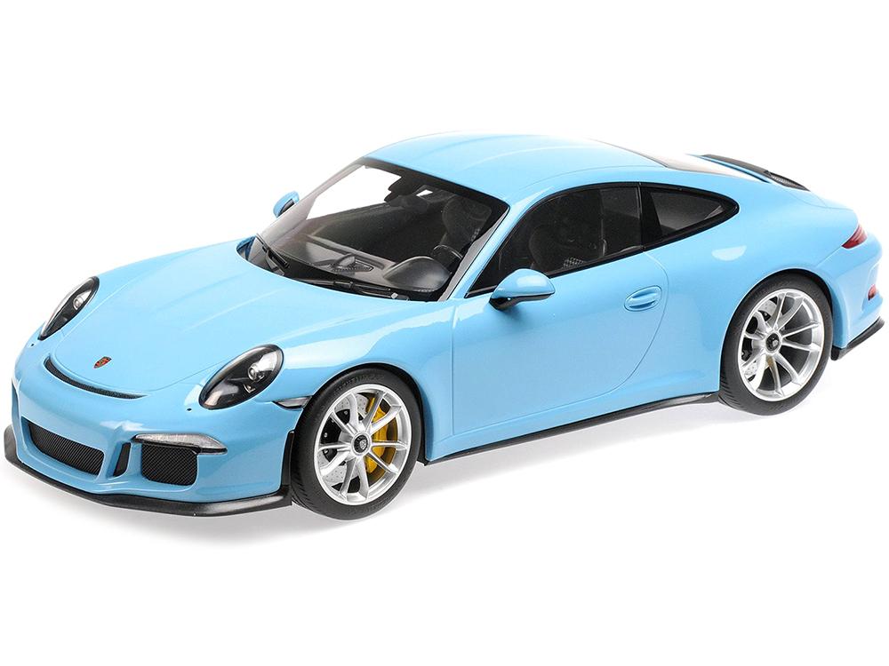 2016 Porsche 911 R Gulf Blue with Silver Wheels 1/12 Diecast Model Car by Minichamps