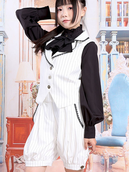 Milanoo Classic Lolita Outfits White V Neck Sleeveless Waistcoat With Shorts