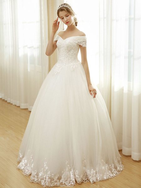 Milanoo Wedding Dresses Off The Shoulder Bridal Dress Lace Embroidered Beading Floor Length Wedding Gown