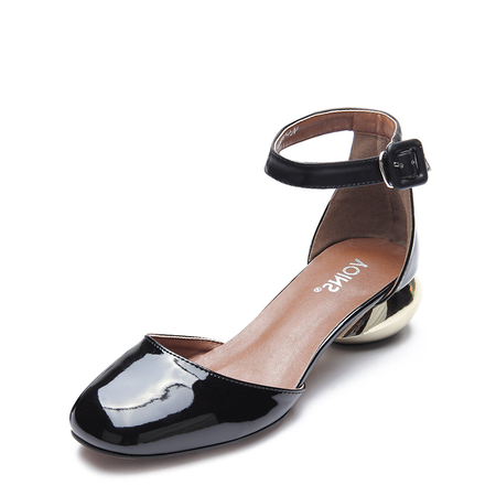 Yoins Black Ankle Strap Patent Leather Heels