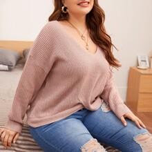 Pullover mit V-Kragen, Tulpensaum und sehr tief angesetzter Schulterpartie