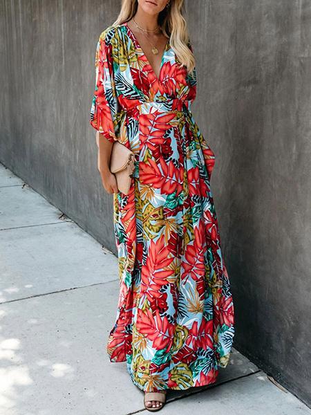 Milanoo Maxi Dress Half Sleeves Red Floral Print V Neck Flowers Maxi Layered Floor Length Dress