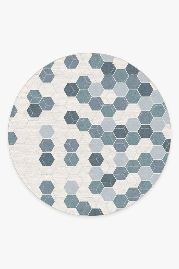 Washable Rug Cover & Pad | Prisma Slate Blue Rug | Stain-Resistant | Ruggable | 8' Round