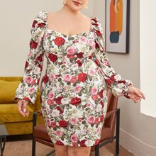 Plus Sweetheart Neck Lantern Sleeve Floral Dress