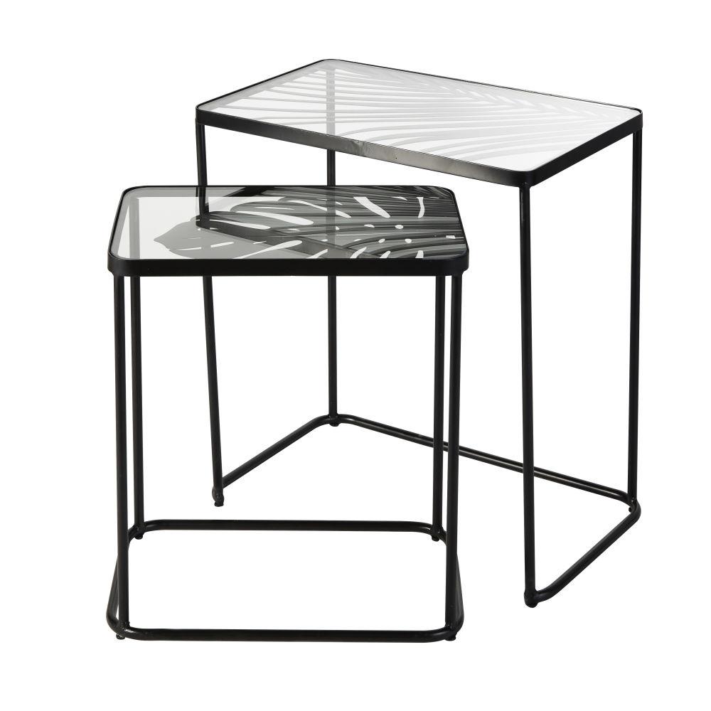 Beistelltische aus schwarzem Metall und Glas mit Blattmuster (x2)