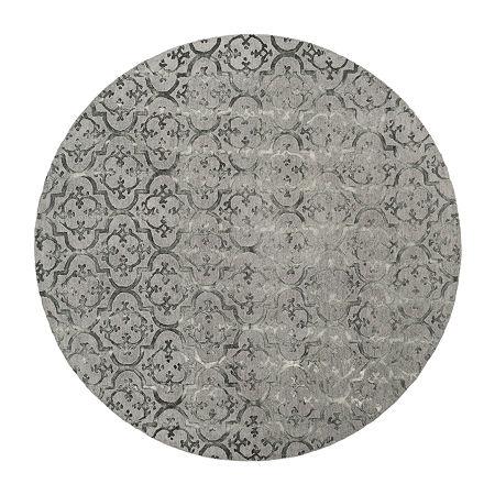 Safavieh Dip Dye Collection Aniyah Damask Round Area Rug, One Size , Gray