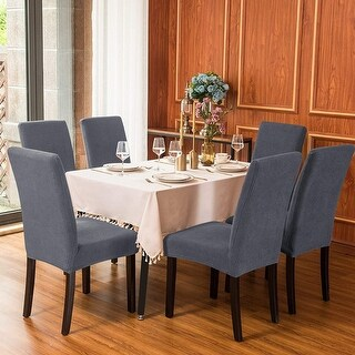Subrtex Dining Chair Slipcover Set of 4 Furniture Protector (Gray)