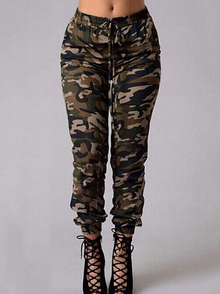 Milanoo Women Camouflage Pants Elastic Waist Drawstring Casual Pants