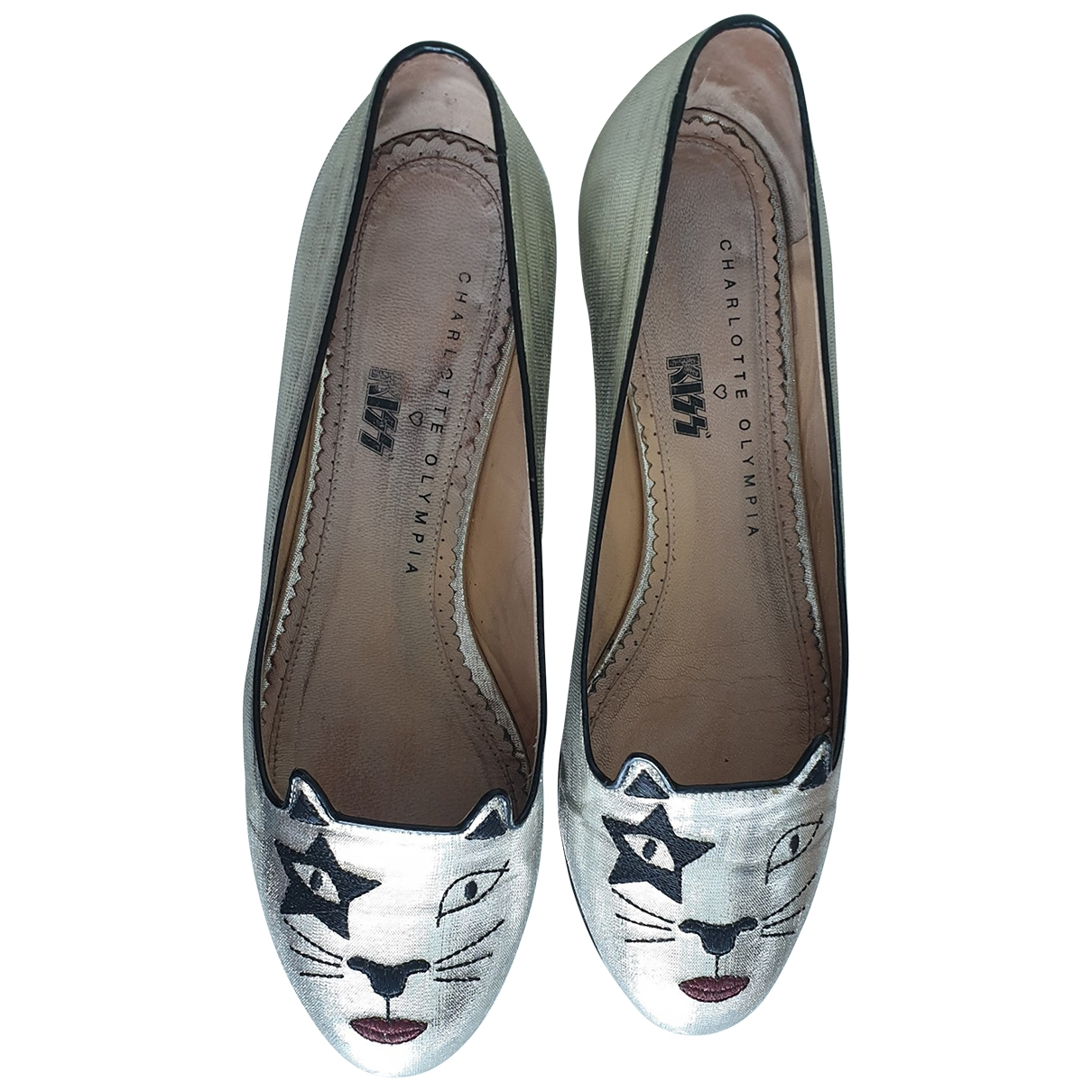 Charlotte Olympia \N Silver Leather Ballet flats for Women 38 EU