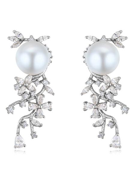 Milanoo Pendientes de la boda de la vendimia pendientes blancos de las perlas Rhinestones