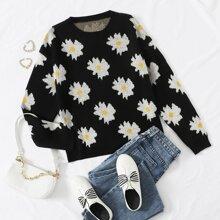 Drop Shoulder Floral Sweater