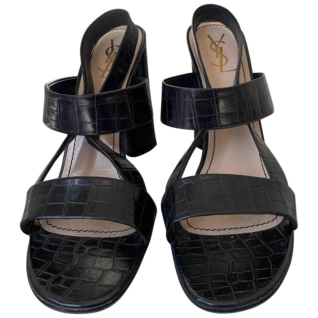Yves Saint Laurent \N Black Leather Heels for Women 40.5 EU