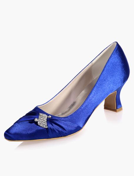 Milanoo Zapatos de novia de saten Zapatos de Fiesta de tacon gordo Zapatos blanco  Zapatos de boda de puntera cuadrada 5.5cm con pedreria