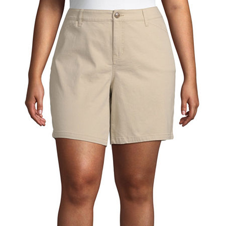 St. John's Bay Womens Mid Rise Chino Short-Plus, 14w , Beige