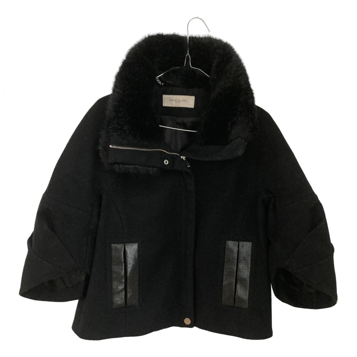 Karen Millen - Manteau   pour femme en laine - noir