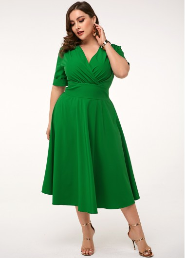 Women'S Green Plus Size V Neck Spring Dress Solid Color High Waisted Short Sleeve A Line Midi Dress By Rosewe - 16W