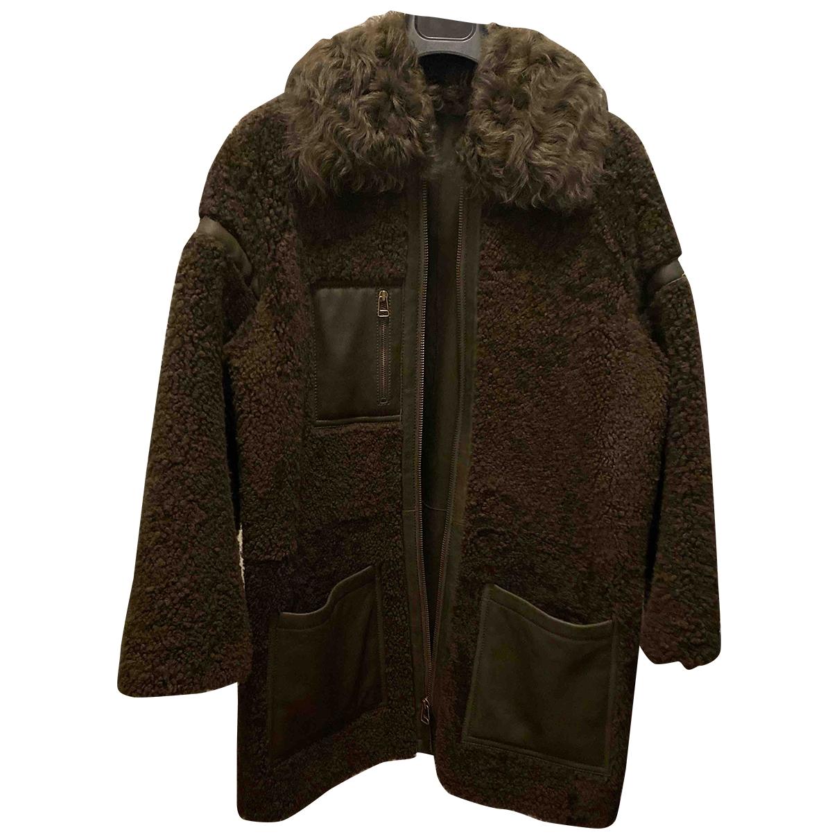 Yves Salomon \N Khaki Shearling coat for Women 36 FR
