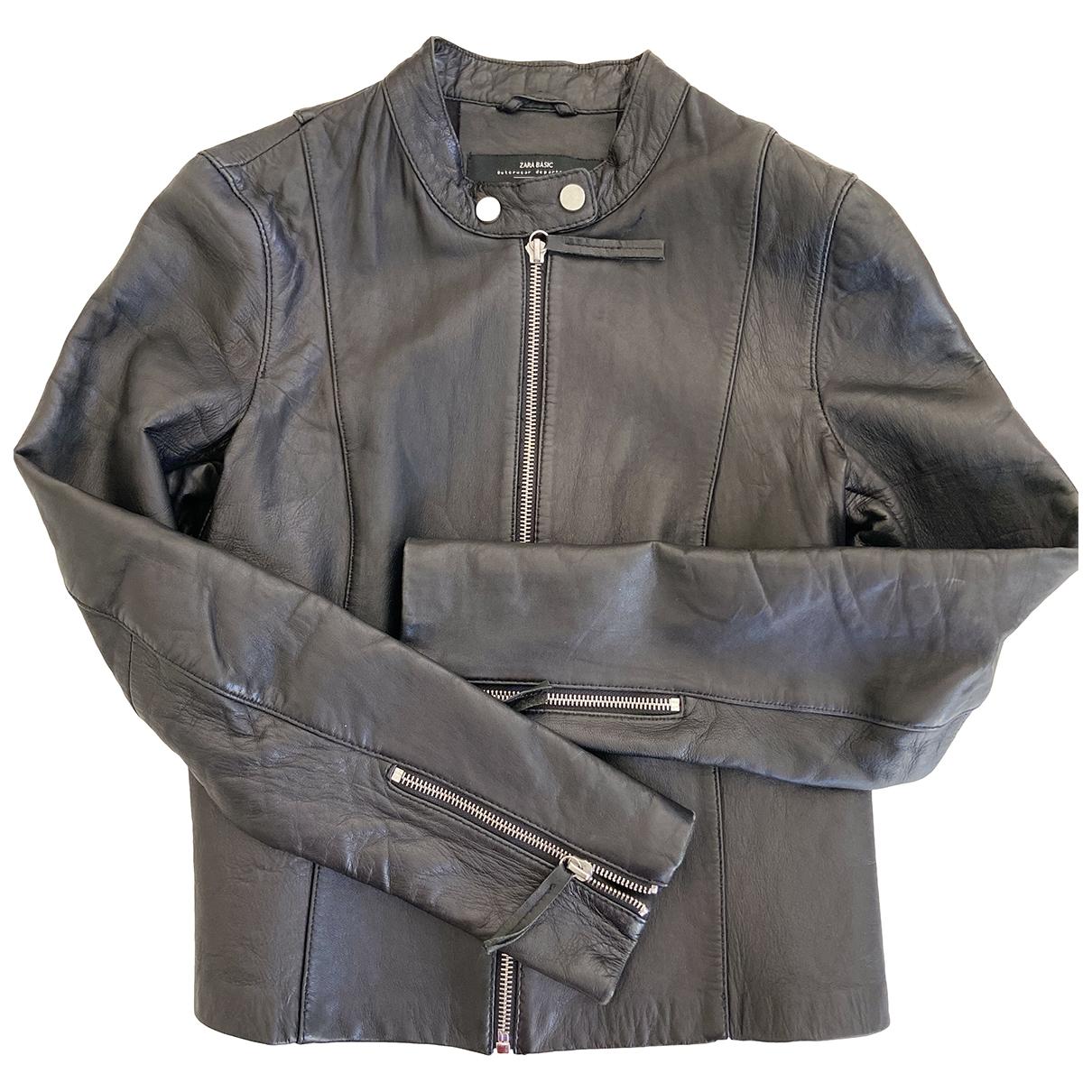 Zara \N Lederjacke in  Schwarz Leder