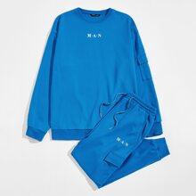 Men Letter Graphic Flap Pocket Side Pullover and Joggers Set