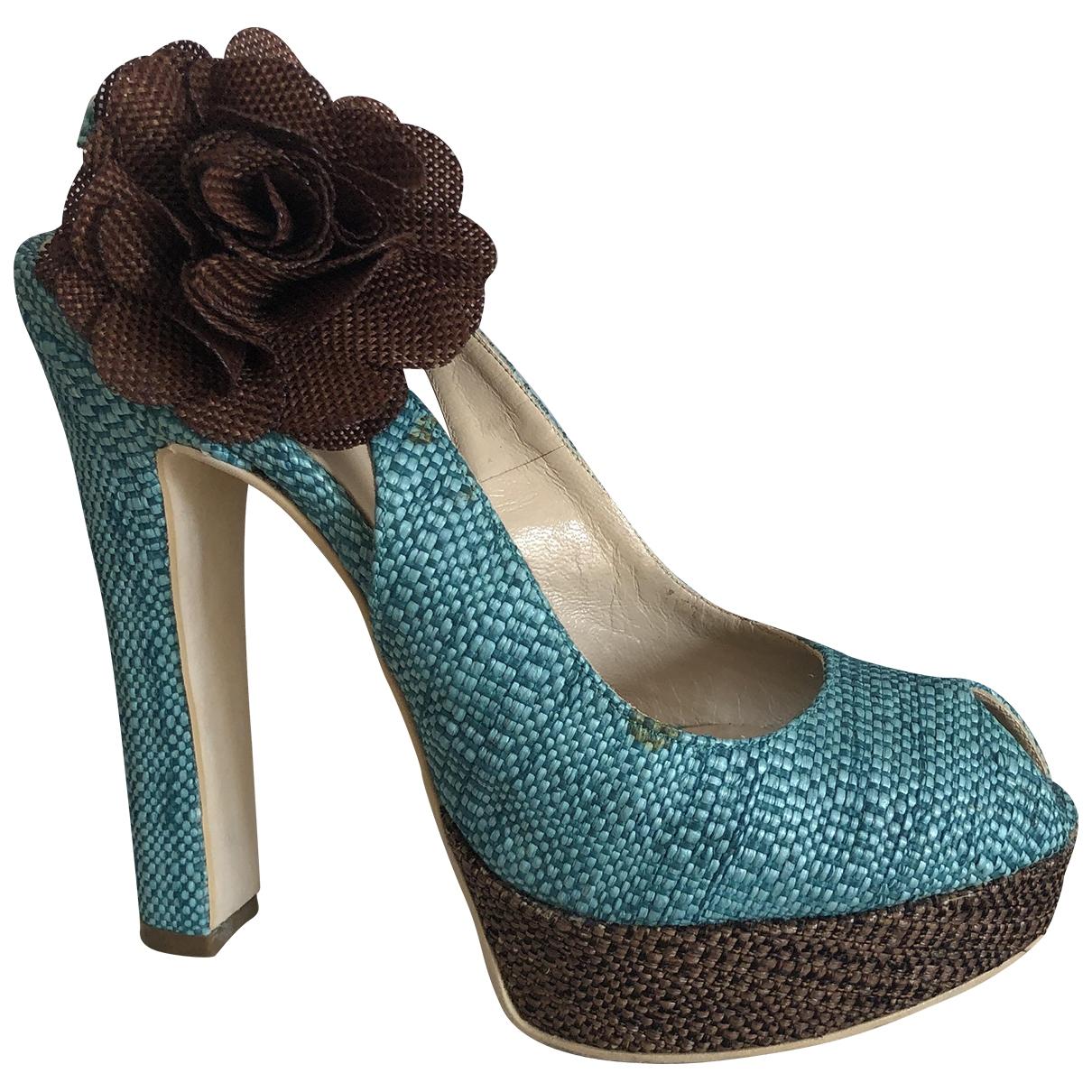 Gianni Marra - Escarpins   pour femme en tweed - turquoise