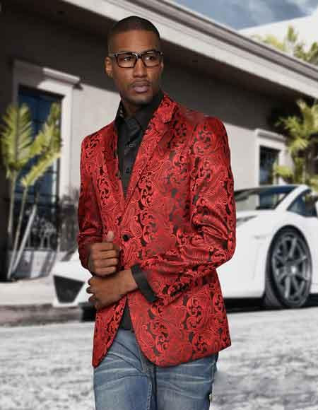 Sequin Paisley Colorful Stage Fashion Sport Coat Blazer Jacket Red