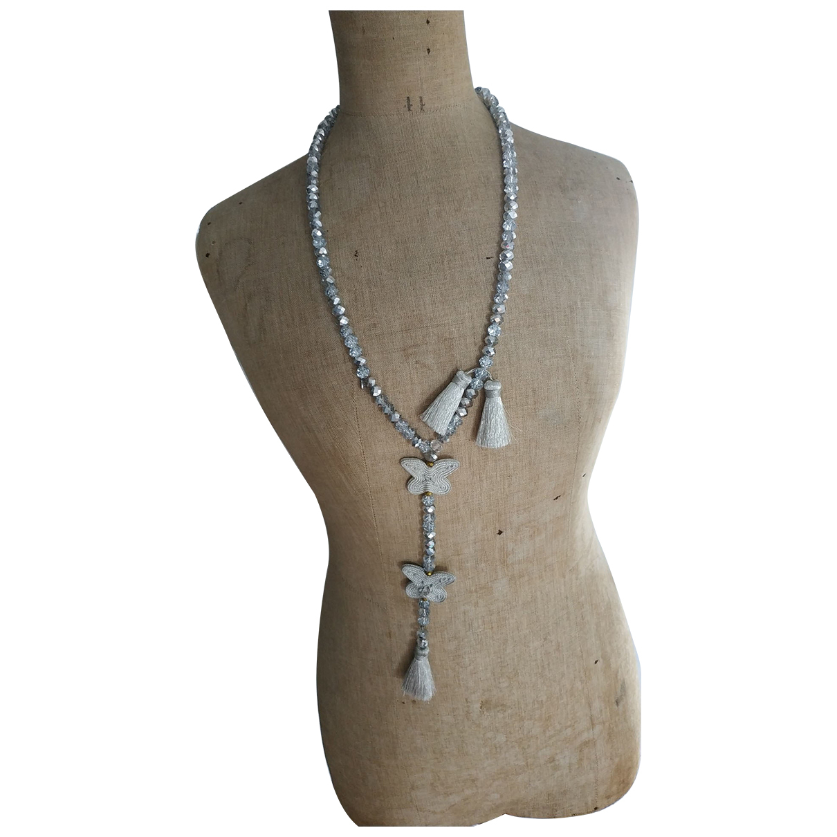 Non Signe / Unsigned \N Halskette in  Silber Glas