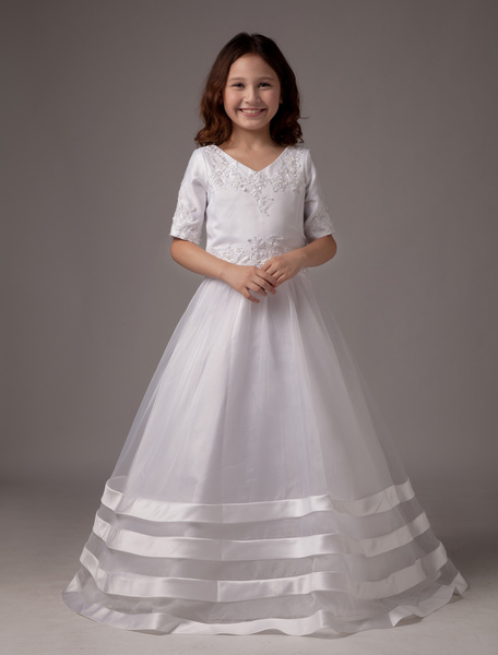 Milanoo White V-Neck A-line Satin First Communion Dress