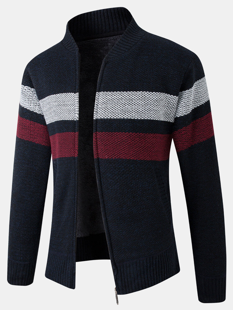 Mens Patchwork Zip Front Rib-Knit Plush Lined Cotton Cardigans With Pocket
