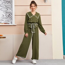 Contrast Binding Double-breasted Self Belt Wide Leg Jumpsuit