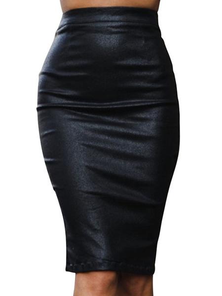 Milanoo Falda Lapiz de mujer Cintura alta de cuero como falda Midi