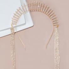 Aro de pelo grabado con diamante de imitacion