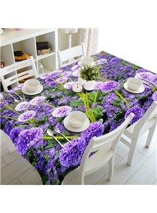 Gorgeous Modern Design Purple Flowers Prints Washable 3D Tablecloth