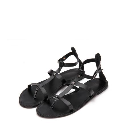 Yoins Black Leather Look Stud Design Wrap Strap Gladiator Sandals