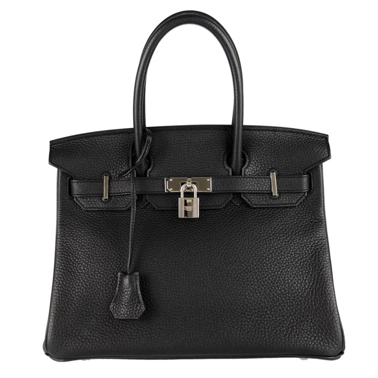 Herm�s Birkin 30 Black Leather handbag for Women \N