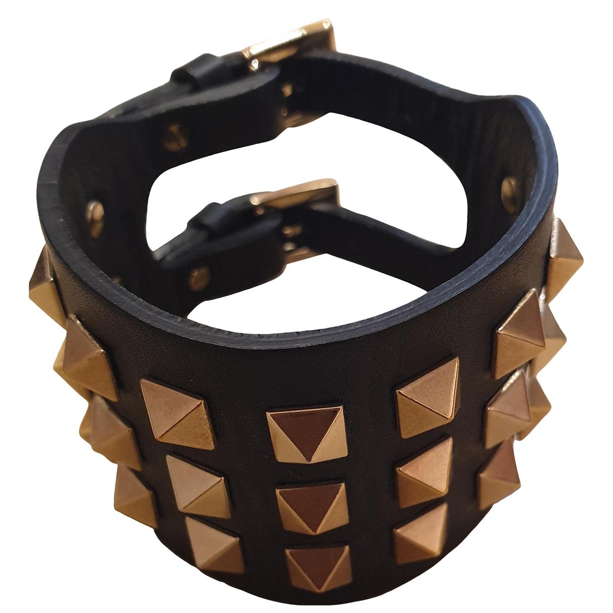 Valentino Garavani - Bracelet   pour femme en cuir - noir