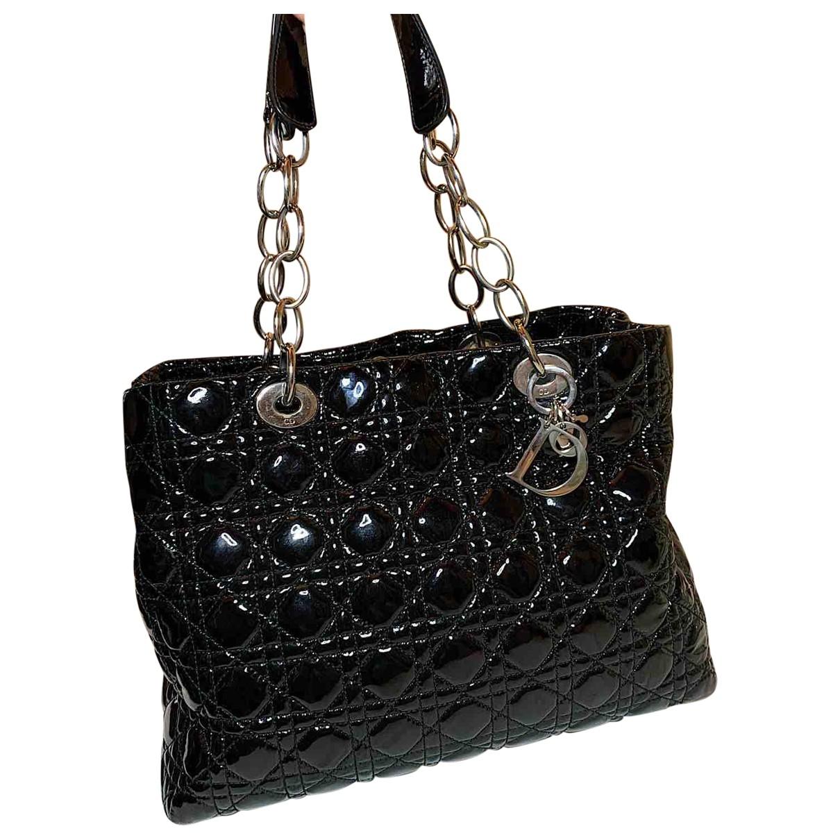 Dior Dior Soft Shopping Handtasche in  Schwarz Lackleder
