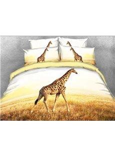 Giraffe in African Safari Wildlife Park 4-Piece 3D Bedding Sets with Hidden Zipper Duvet Cover Envelope Pillowcases and Buffy Sheet