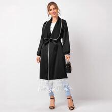 Mantel mit Kontrast Bindung, Fransen und Guertel