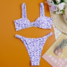 Leopard High Cut Thong Bikini Swimsuit